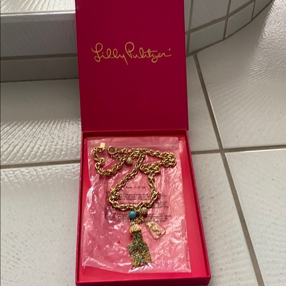"""Lilly Pulitzer 30"""" Sea Life Gold necklace"""